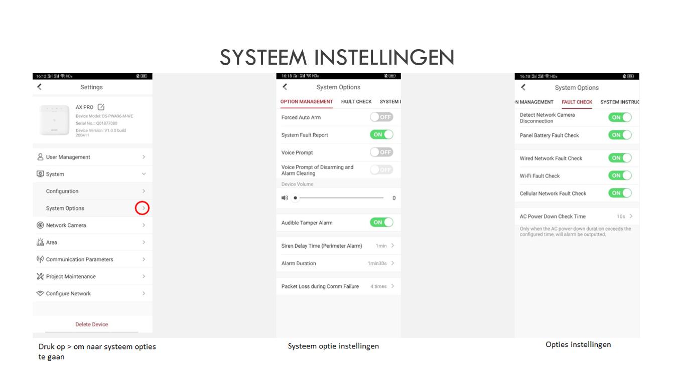 Systeem instellingen